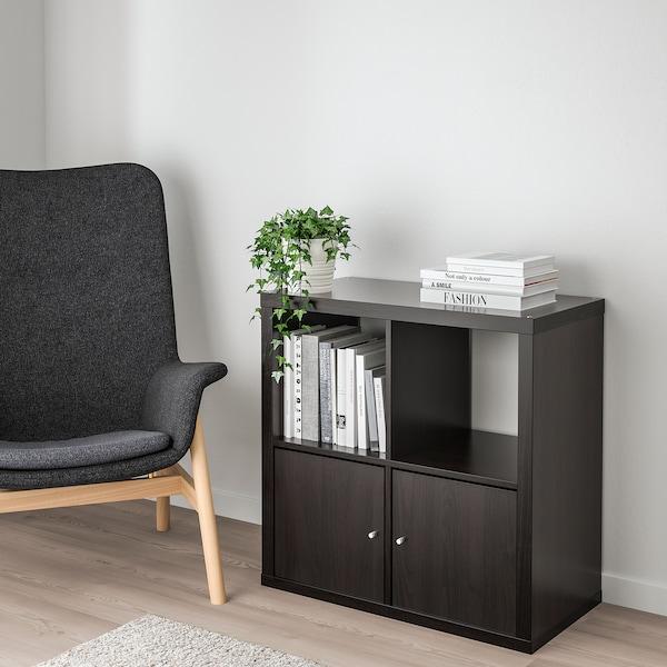 kallax shelf unit with doors  blackbrown  ikea