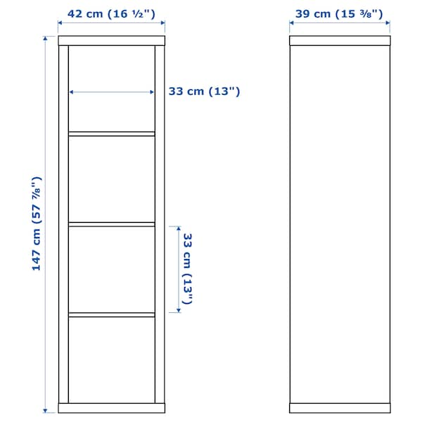 "KALLAX shelf unit walnut effect light gray 16 1/2 "" 15 3/8 "" 57 7/8 """