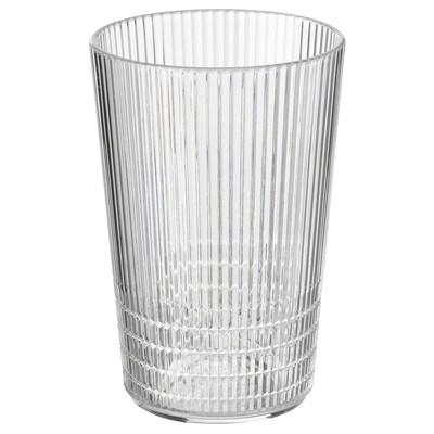 KALLSINNIG Glass, transparent plastic, 13 oz