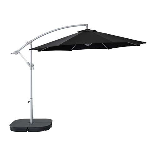 - KARLSÖ / SVARTÖ Offset Patio Umbrella With Base - Black/dark Gray - IKEA