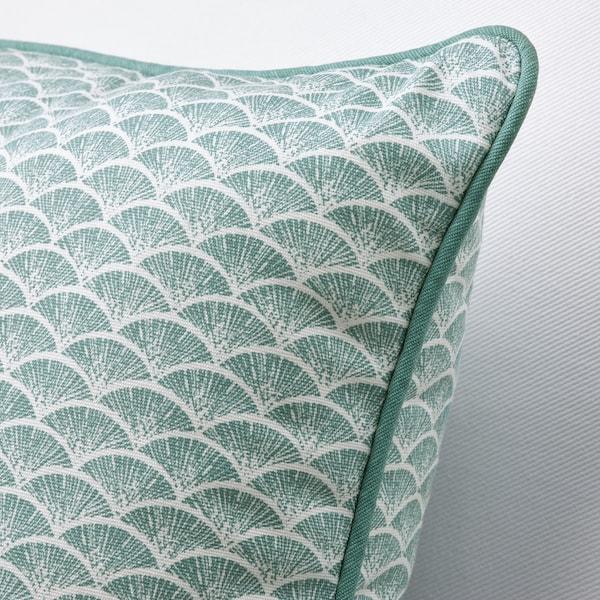 "KASKADGRAN Cushion, gray-turquoise/white, 16x16 """