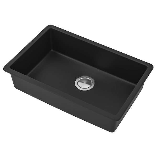 KILSVIKEN Sink, black quartz composite, 28 3/8x18 1/8 ""