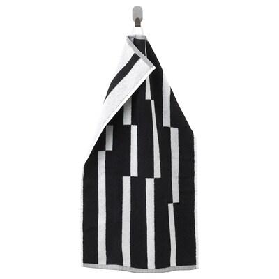 "KINNEN Hand towel, black/white, 16x28 """