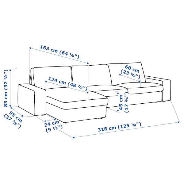 "KIVIK sectional, 4-seat with chaise/Hillared dark blue 125 1/4 "" 32 5/8 "" 37 3/8 "" 64 1/8 "" 23 5/8 "" 48 7/8 "" 17 3/4 """