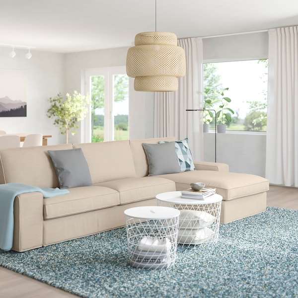 """KIVIK sectional, 4-seat with chaise/Hillared beige 125 1/4 """" 32 5/8 """" 37 3/8 """" 64 1/8 """" 23 5/8 """" 48 7/8 """" 17 3/4 """""""