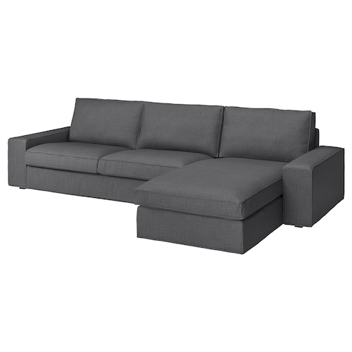"KIVIK sectional, 4-seat with chaise/Skiftebo dark gray 125 1/4 "" 32 5/8 "" 37 3/8 "" 64 1/8 "" 23 5/8 "" 48 7/8 "" 17 3/4 """