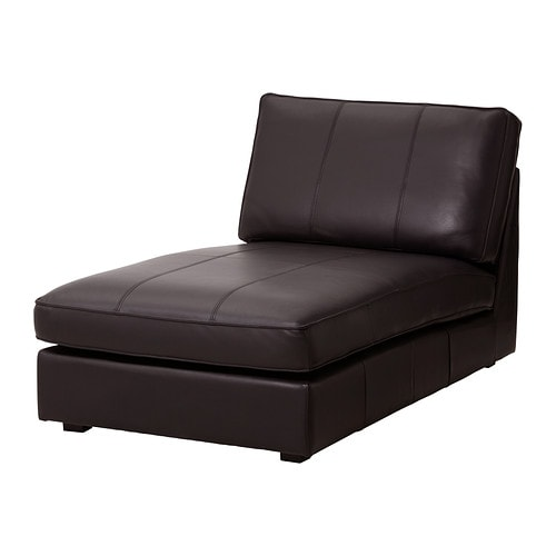 Kivik chaise grann bomstad dark brown ikea for Black leather chaise longue