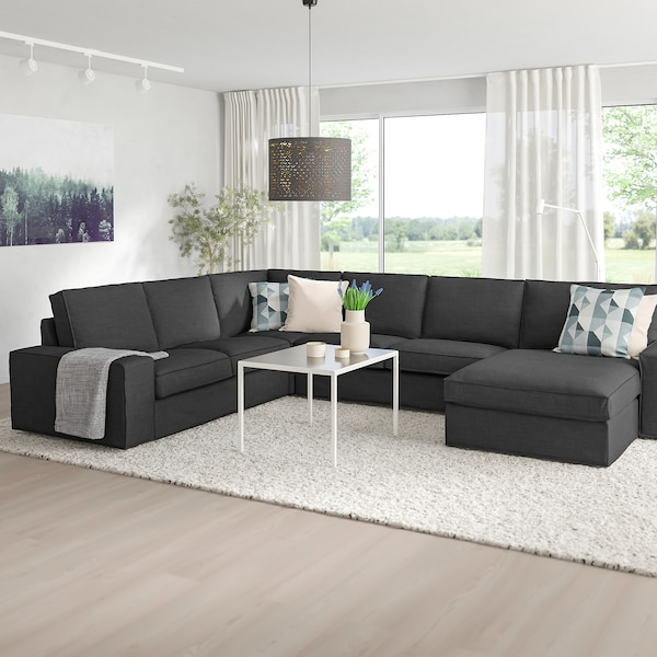 "KIVIK sectional, 5-seat corner with chaise/Hillared anthracite 64 1/8 "" 37 3/8 "" 32 5/8 "" 48 7/8 "" 136 5/8 "" 101 1/8 "" 9 1/2 "" 23 5/8 "" 17 3/4 """
