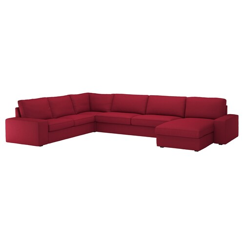 "KIVIK sectional, 5-seat with chaise/Orrsta red 64 1/8 "" 32 5/8 "" 48 7/8 "" 152 3/8 "" 101 1/8 "" 9 1/2 "" 23 5/8 "" 17 3/4 """