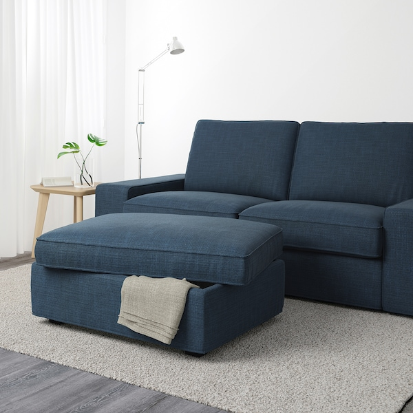 "KIVIK footstool with storage Hillared dark blue 35 3/8 "" 27 1/2 "" 16 7/8 """