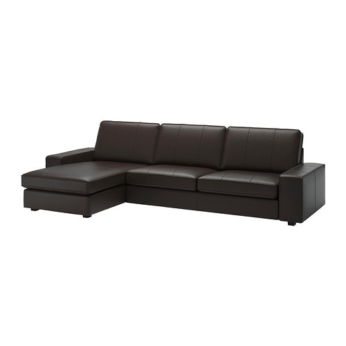 kivik sofa and chaise lounge grann bomstad dark brown ikea. Black Bedroom Furniture Sets. Home Design Ideas