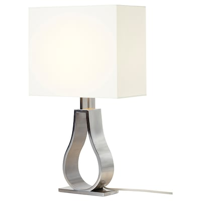 """KLABB Table lamp, off-white/nickel plated, 17 3/8 """""""