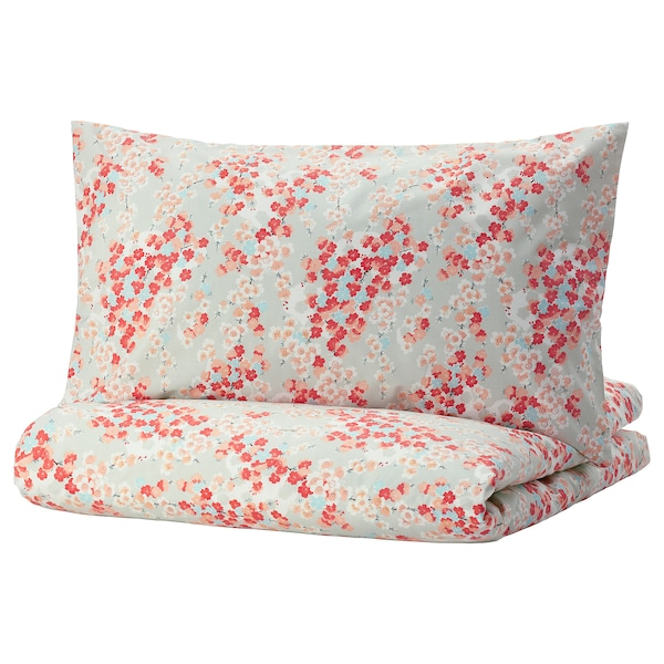 KLIBBGLIM Duvet cover and pillowcase(s), multicolor/floral patterned, Twin