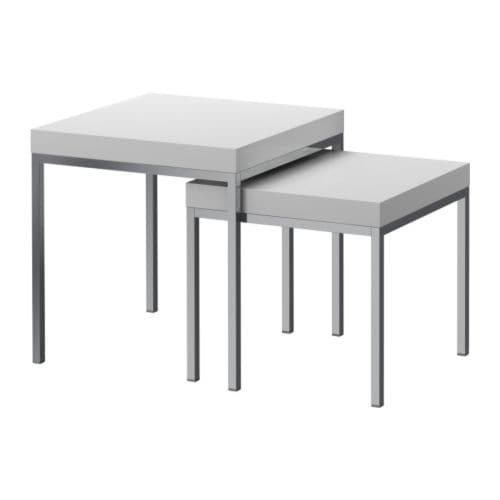 KLUBBO Nesting tables, set of 2   Can be pushed together to save space.