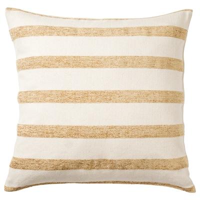 "KNIPPARV Cushion, natural golden-yellow/striped, 20x20 """