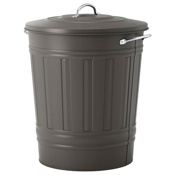 KNODD Bin with lid, gray, 11 gallon