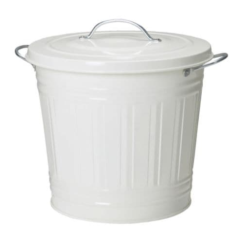 KNODD Bin with lid   Can be used anywhere in your home, even in damp areas like the bathroom and under covered balconies.