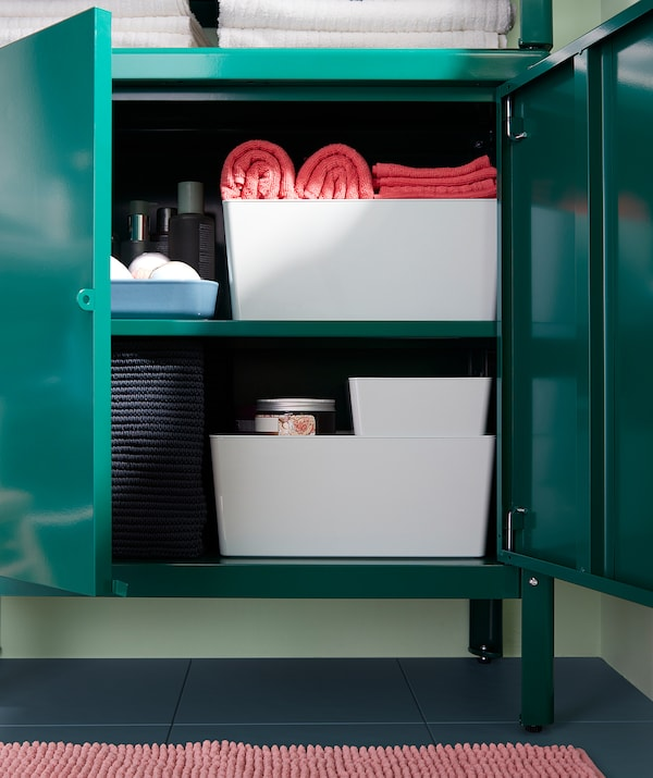 "KOLBJÖRN Shelving unit with cabinet, green, 31 1/2x14 5/8x63 3/8 """