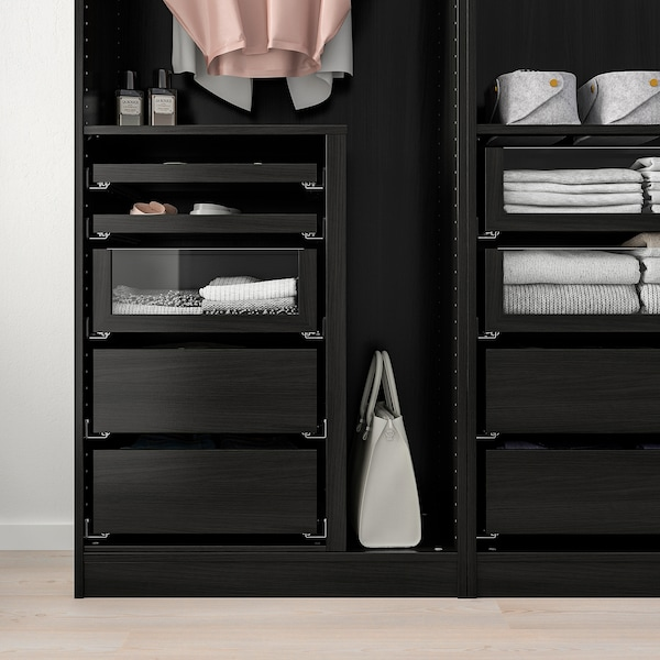"""KOMPLEMENT drawer with glass front black-brown 29 1/2 """" 13 3/4 """" 26 3/4 """" 13 3/8 """" 6 1/4 """" 25 5/8 """" 12 """""""