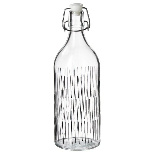 KORKEN Bottle with stopper, clear glass/patterned black, 34 oz