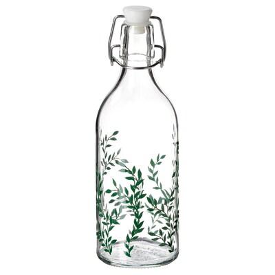 KORKEN Bottle with stopper, clear glass/patterned green, 17 oz