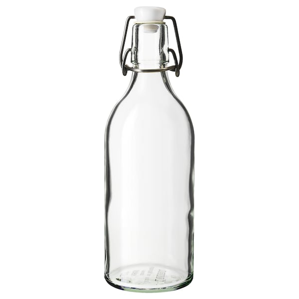 KORKEN Bottle with stopper, clear glass, 17 oz