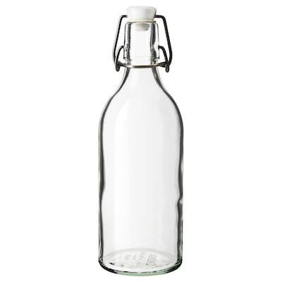 KORKEN Bottle with stopper, clear glass, 17 oz