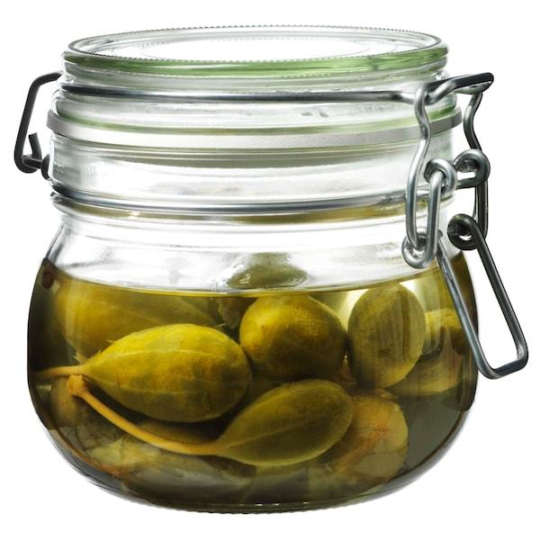 KORKEN Jar with lid, clear glass, 17 oz