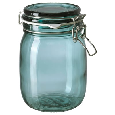 "KORKEN jar with lid green 7 "" 4 3/4 "" 34 oz"