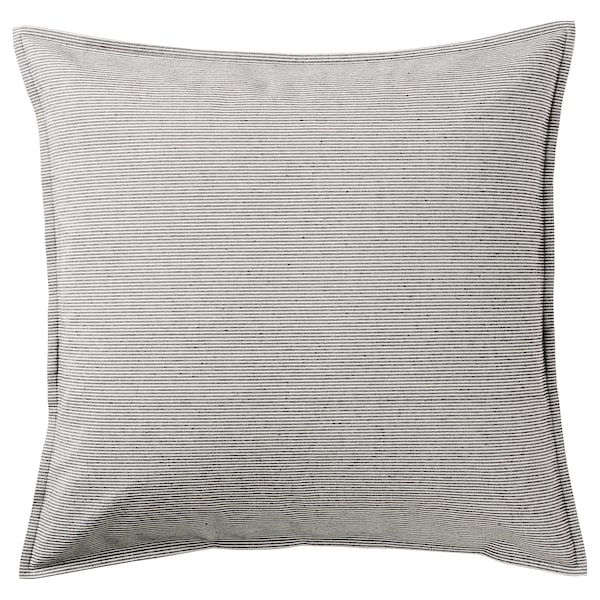 "KRISTIANNE Cushion cover, white/dark gray striped, 20x20 """