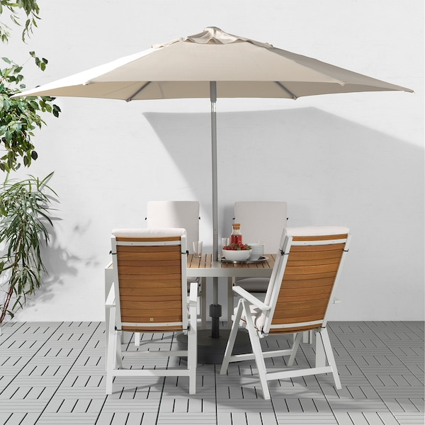 "KUGGÖ / LINDÖJA Patio umbrella with base, beige/Grytö dark gray, 118 1/8 """