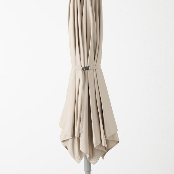 "KUGGÖ / LINDÖJA Patio umbrella with base, beige/Huvön dark gray, 118 1/8 """