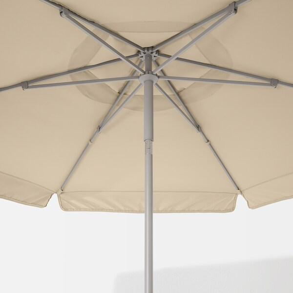 """KUGGÖ / VÅRHOLMEN Patio umbrella with base, gray beige/Grytö dark gray, 118 1/8 """""""