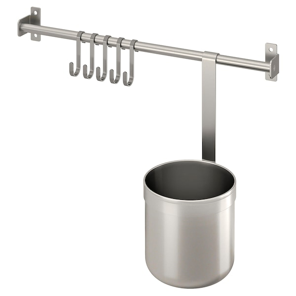 """KUNGSFORS Rail with 5 hooks and 1 container, stainless steel, 15 3/4 """""""