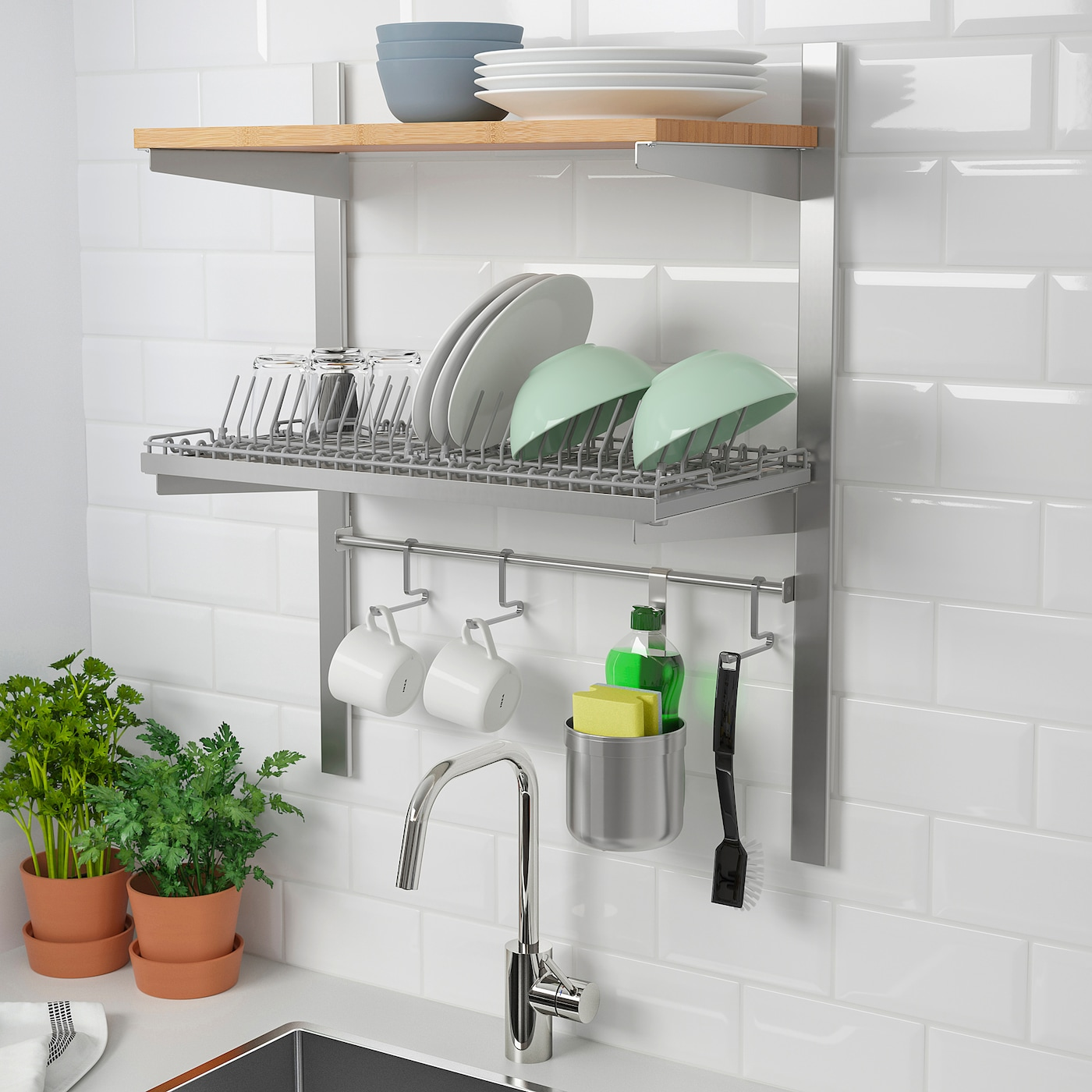 KUNGSFORS Susp rail w shelf/rail/dish dra - stainless steel/ash