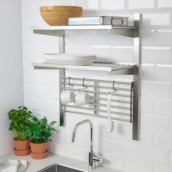 """KUNGSFORS suspension rail with shelf/wll grid stainless steel 25 1/4 """" 12 5/8 """" 31 1/2 """""""