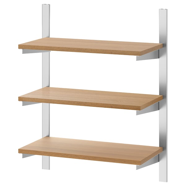 """KUNGSFORS Suspension rail with shelves, stainless steel/ash, 23 5/8 """""""