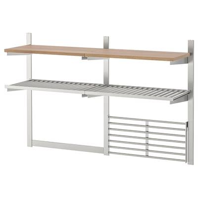 KUNGSFORS Wall storage with grid + knife rack, stainless steel/ash veneer