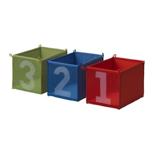 "KUSINER Box, blue/green, red Length: 10 1/4 "" Width: 7 1/8 "" Height: 7 1/8 "" Package quantity: 3 pack  Length: 26 cm Width: 18 cm Height: 18 cm Package quantity: 3 pack"