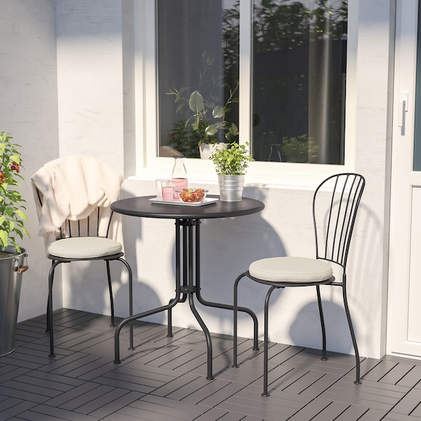 LÄCKÖ Bistro set, outdoor, gray/Frösön/Duvholmen beige