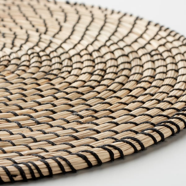 "LÄTTAD Place mat, seagrass/black, 15 """