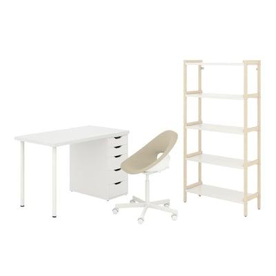 LAGKAPTEN/ELDBERGET / EKENABBEN Desk and storage combination, and swivel chair beige/white
