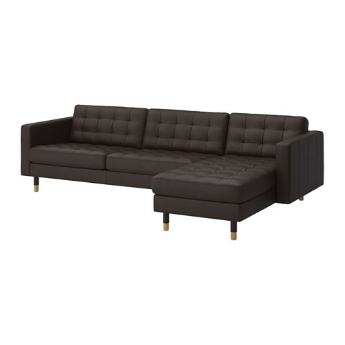 Landskrona sofa and chaise lounge grann bomstad dark for Brown chaise lounge sofa