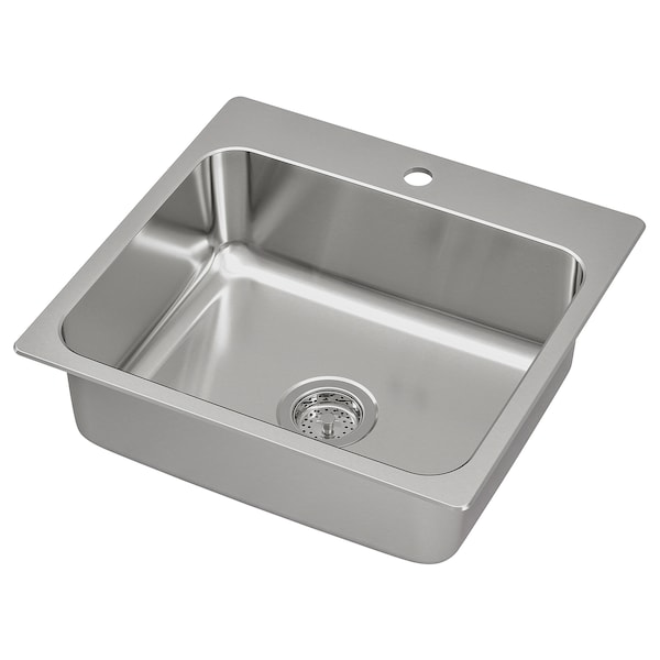 "LÅNGUDDEN sink stainless steel 7 1/8 "" 19 5/8 "" 15 3/4 "" 19 7/8 "" 21 1/4 "" 20 5/8 "" 22 "" 20 5/8 "" 7 gallon"