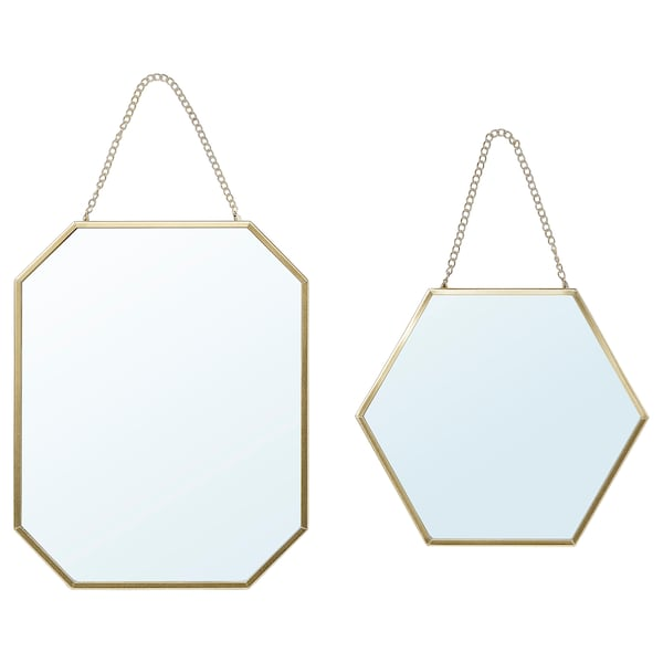 LASSBYN Mirror, set of 2, gold-colour