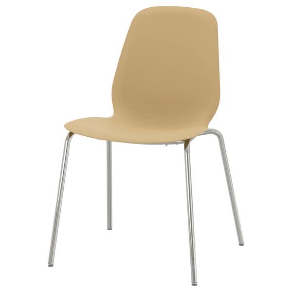 LEIFARNE Chair, light olive-green/Broringe chrome plated