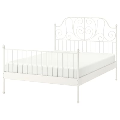 LEIRVIK Bed frame, white/Luröy, Queen