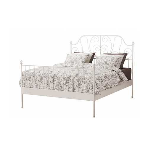 LEIRVIK Bed frame   17 slats of layer-glued birch adjust to your body weight and increase the suppleness of the mattress.