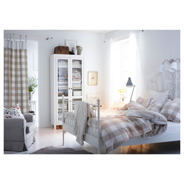 """LEIRVIK bed frame white/Eidfjord 82 1/4 """" 63 """" 38 5/8 """" 57 1/2 """" 79 1/2 """" 59 7/8 """""""