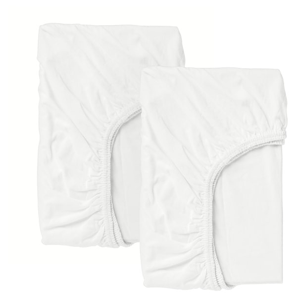 LEN Crib fitted sheet, white, 28x52 ""